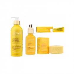 Pack, Lemon Glow: Ultimate Lightening Beauty Milk, Soins Blanchissant Corporel Complèts,100 % Naturel